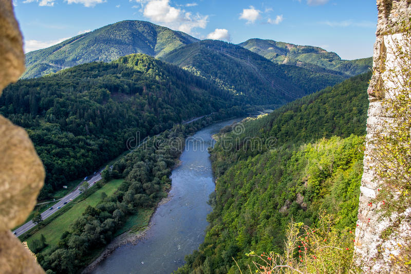 Vah river from Strecno old castle in northern Slovakia stock photos