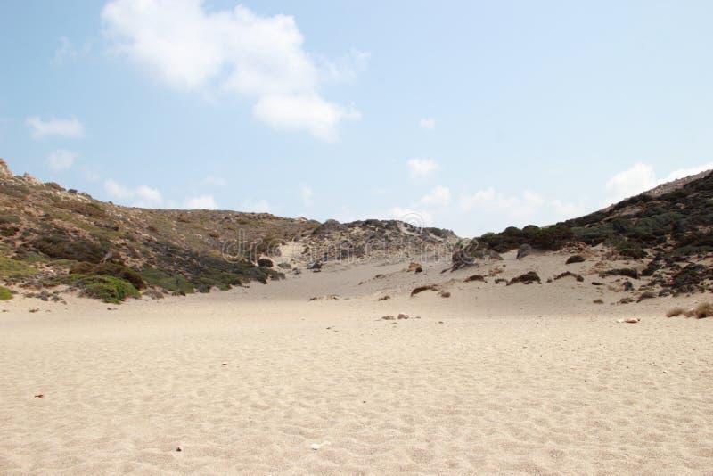 Vai惊人的棕榈滩的看法与蓝色,在克利特的绿松石水的 免版税库存照片