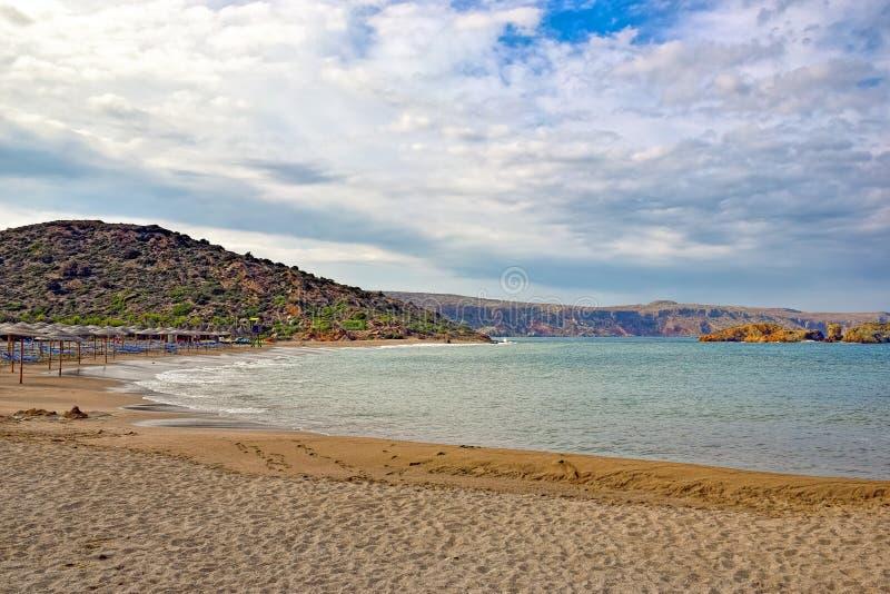 Vai海滩在克利特海岛上的  库存图片