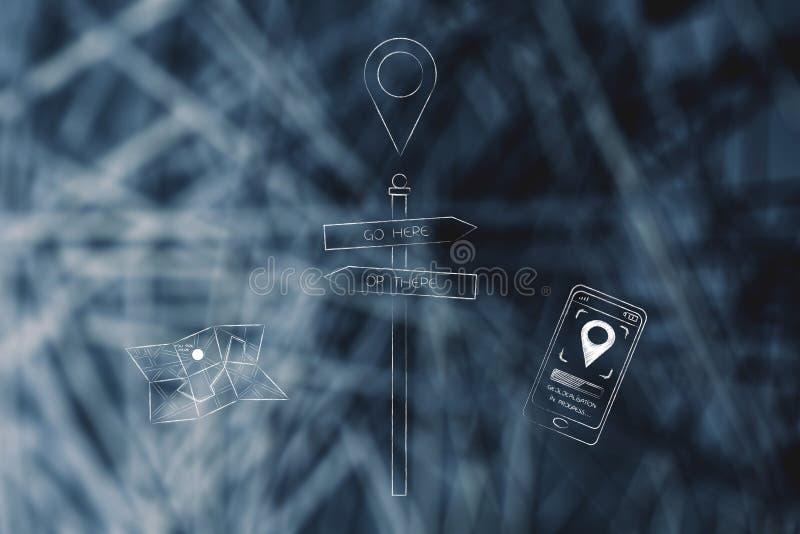 Vai aqui ou sinal de estrada com mapa e o smartphone de papel t seguinte ilustração royalty free