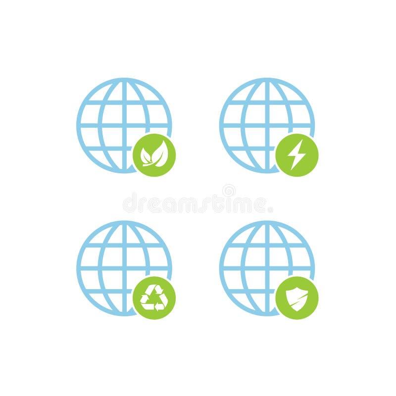 Vai a energia verde e renovável com ícone do globo ilustração do vetor