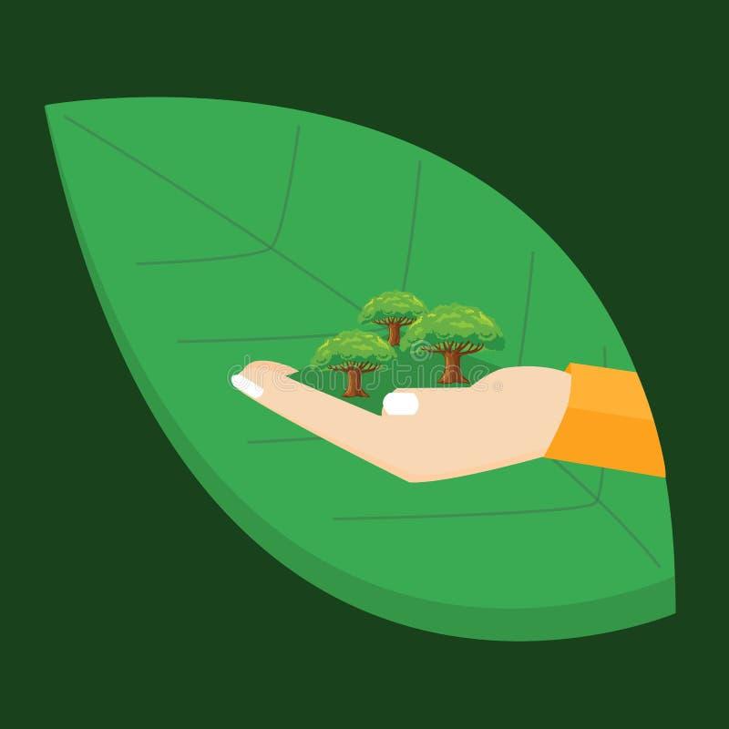 Vai a mão verde que guarda a ilustração do conceito do ambiente da folha da árvore da planta ilustração do vetor