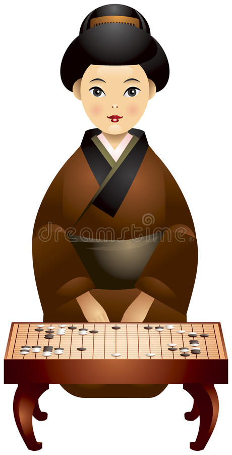 Vai a menina do japonês do jogador do jogo ilustração stock