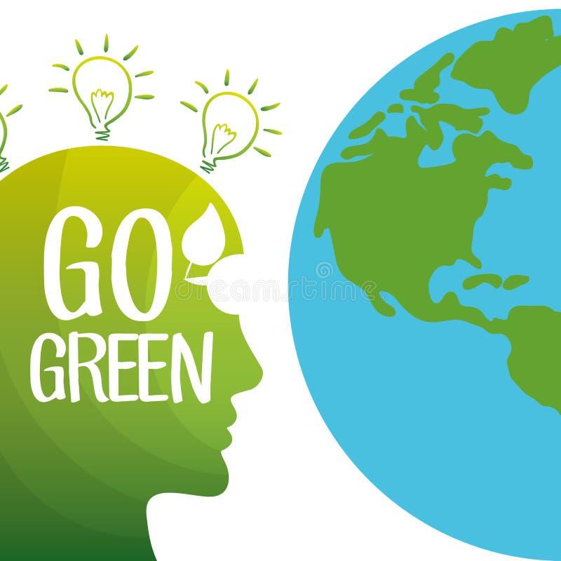 Vai o ambiente verde do globo da mente ilustração stock