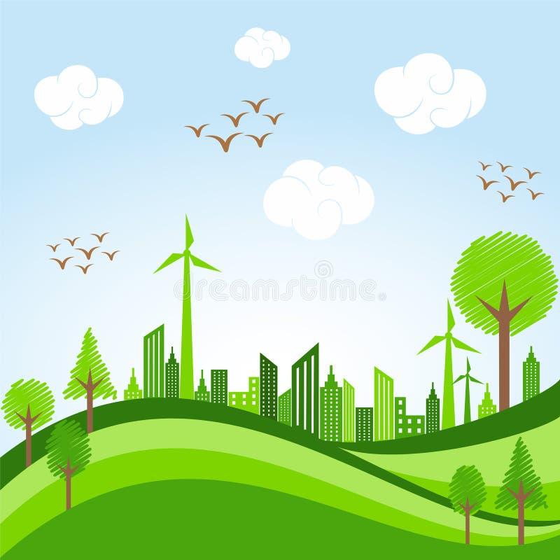 Vai o conceito verde - arquitetura da cidade de Eco na bicicleta ilustração stock