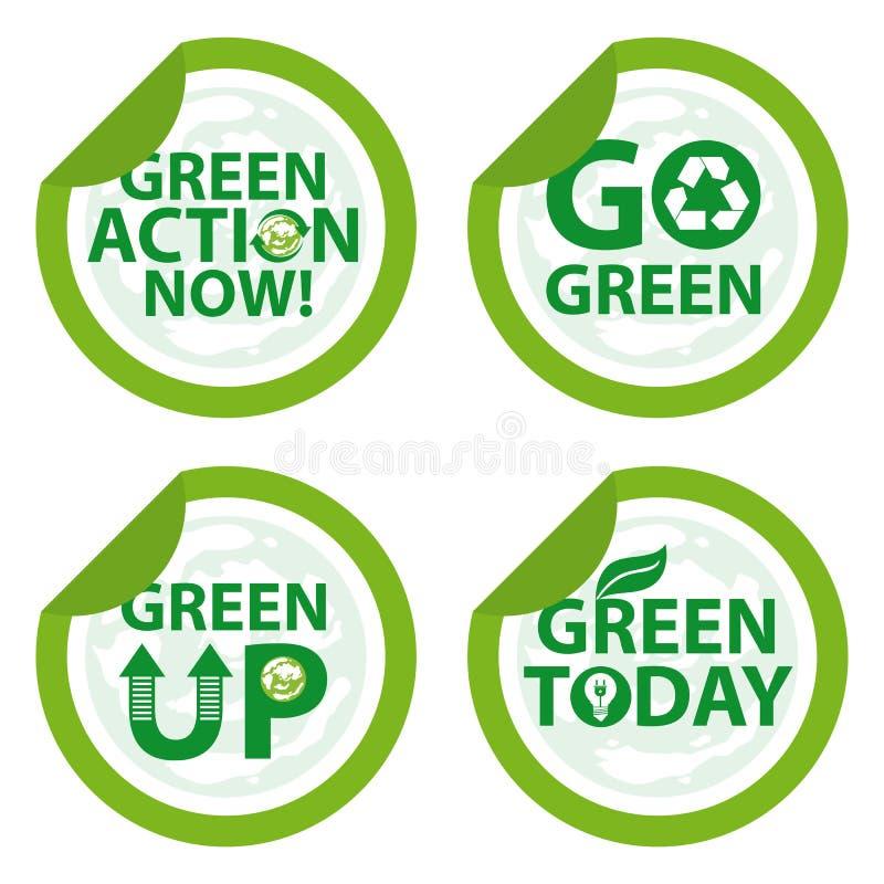 Vai o crachá verde ilustração do vetor