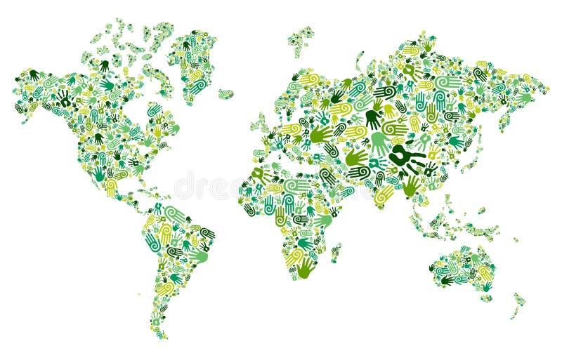 Vai o mapa de mundo verde das mãos ilustração do vetor
