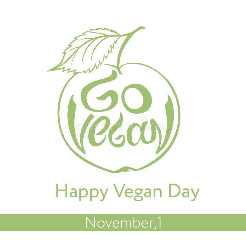 Vai o slogan do vegetariano Entregue a rotulação na forma da maçã verde ilustração stock