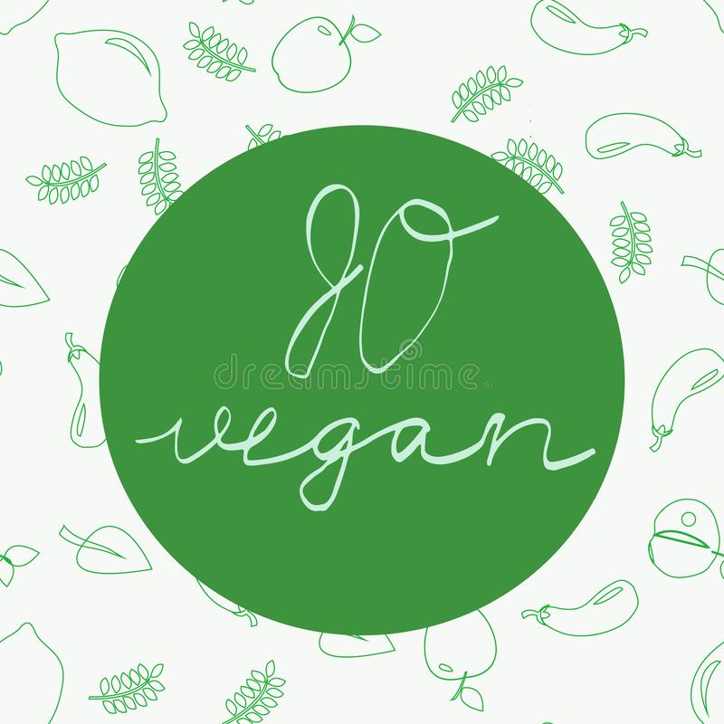 Vai o vegetariano - cartaz inspirador ou bandeira ilustração stock