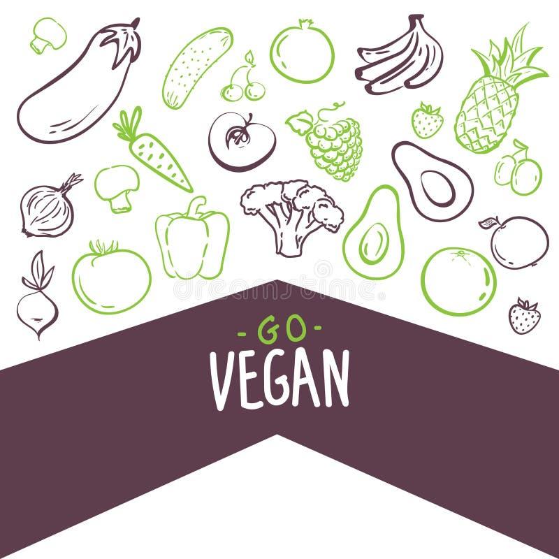 Vai o vegetariano - cartaz inspirador ou bandeira com frase da mão-rotulação com ícones na moda e sinais das frutas e legumes - v ilustração stock