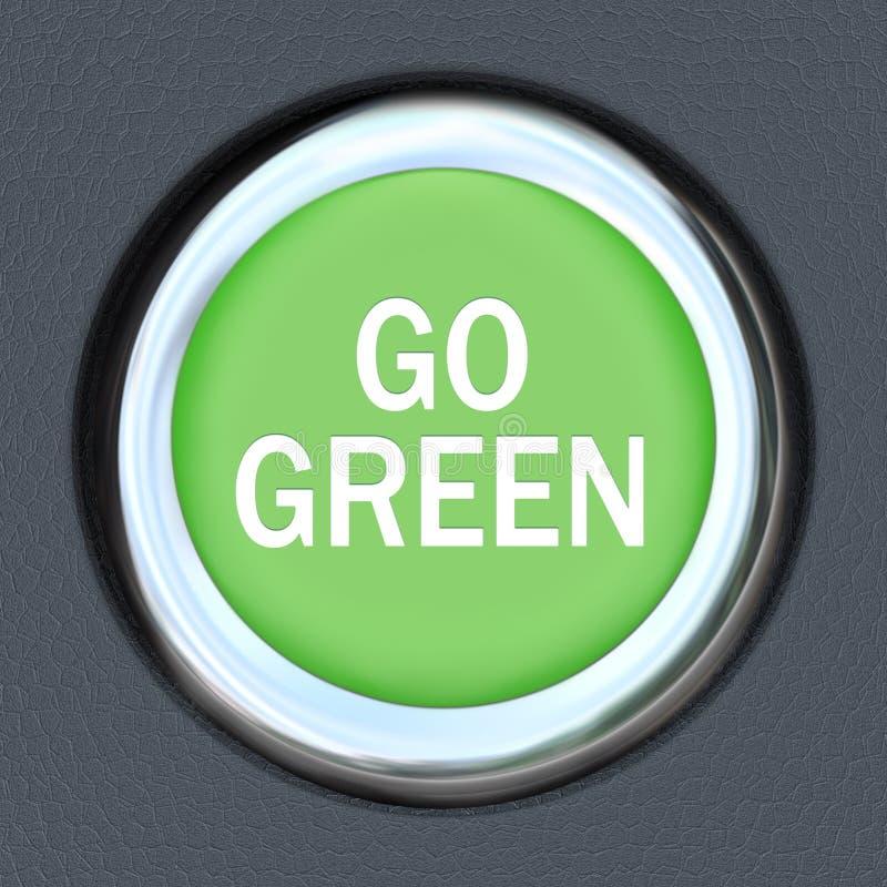 Vai o verde - acionador de partida Envrionmentalism da tecla do carro ilustração do vetor
