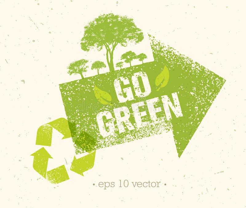 Vai o verde recicla reduz o conceito do cartaz de Eco da reutilização Ilustração orgânica criativa do vetor no fundo áspero ilustração stock