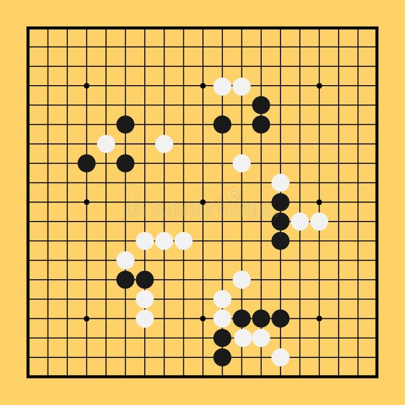 Vai o vetor do chinês da placa do jogo Baduk de China da ilustração do jogo ilustração do vetor