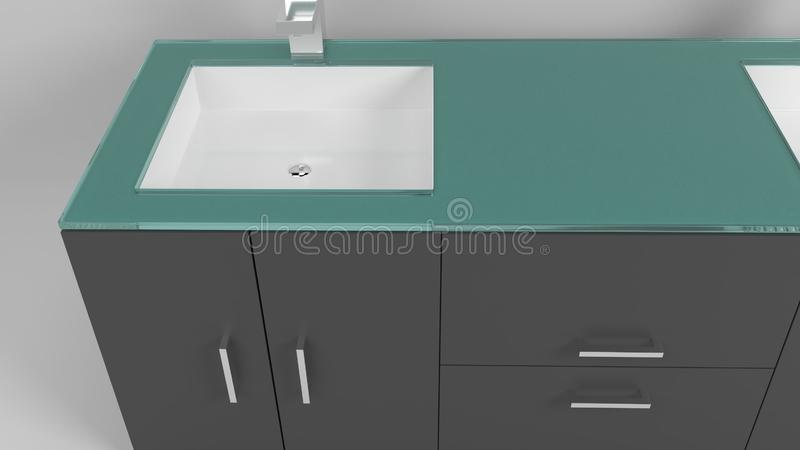Vaidade moderna do banheiro isolada no branco ilustração do vetor