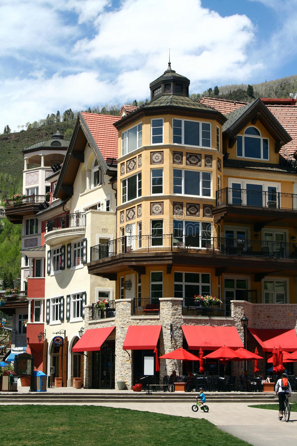 Vail, Colorado. Is a popular resort town in the United States. It's known for it's skiing in the winter time, and for abundant outdoor activities in the summer royalty free stock photos
