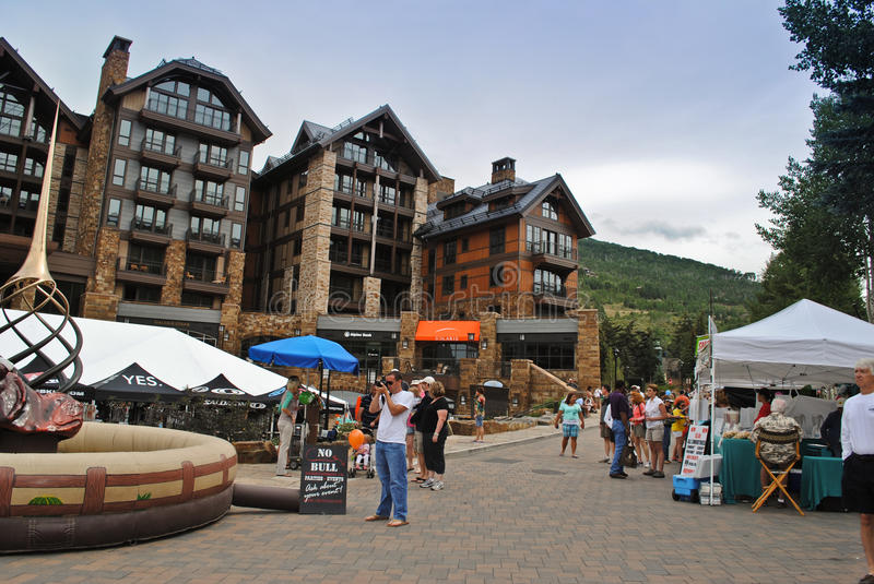 Vail, Colorado. Is a popular resort town in the United States. It's known for it's skiing in the winter time, and for abundant outdoor activities in the summer stock photo