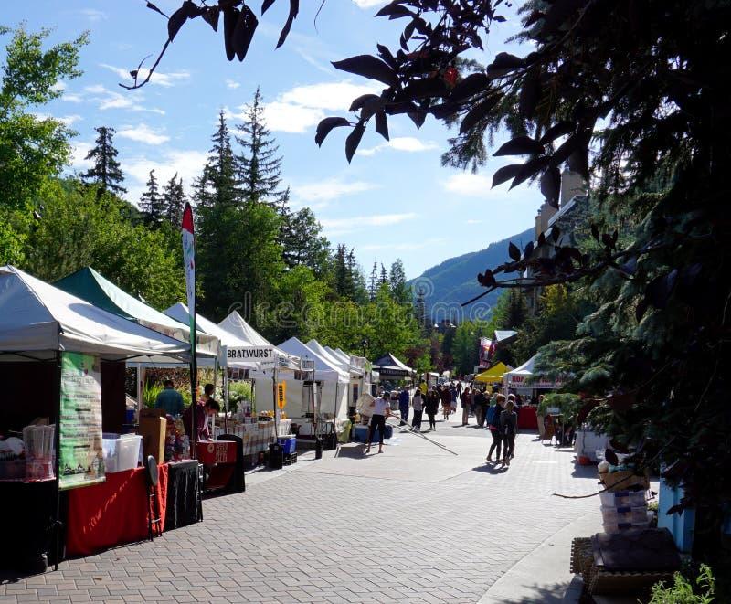 Vail, Colorado, USA - September 2, 2018 - Vendors prepare their stalls for the Gourmet on Gore 2018 festival stock photos