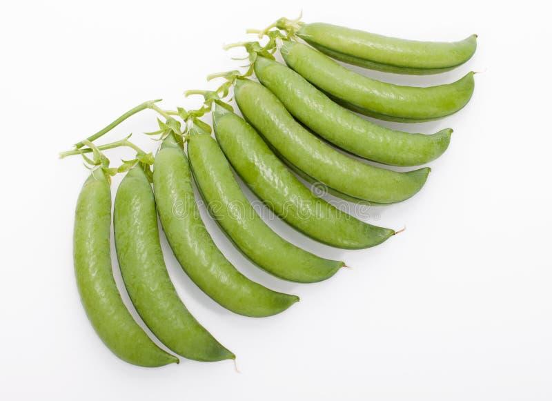 Vainas de guisantes verdes frescas imagenes de archivo