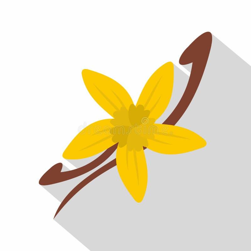Vainas de la vainilla e icono de la flor, estilo plano ilustración del vector