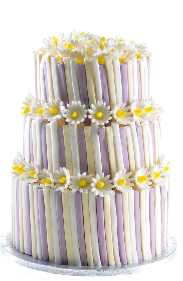 Vainilla del pastel de bodas y torta dulces de la celebración de la fresa imagenes de archivo