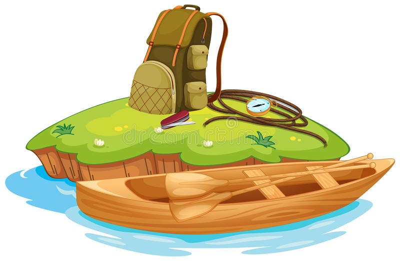 Vaious objects for camping and a canoe vector illustration