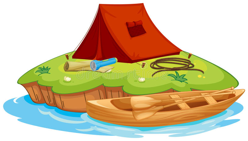 Vaious objects for camping and a canoe stock illustration