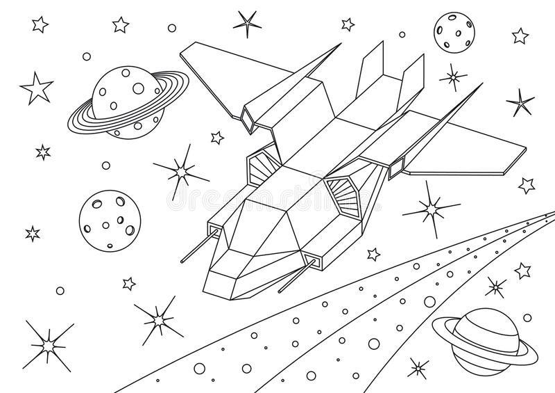 Vaisseau spatial étranger dans l'univers, vol de vaisseau spatial dans l'espace lointain illustration libre de droits