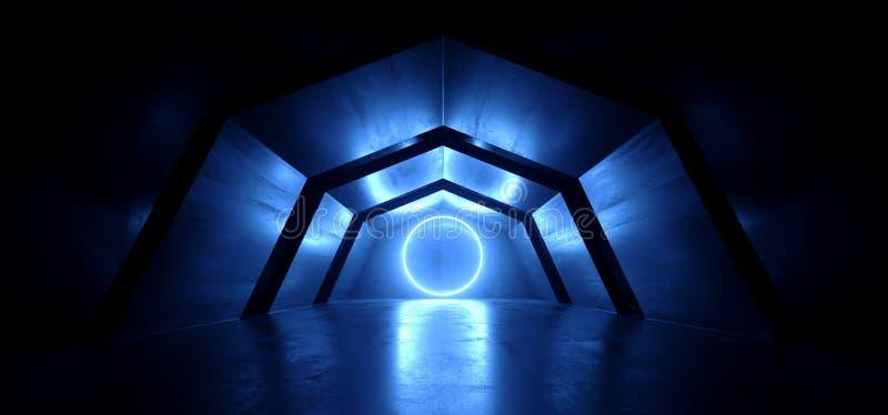Vaisseau spatial étranger rougeoyant bleu de tunnel de lampes au néon de laser de voûte futuriste de Sci fi de couloir concret ré illustration stock