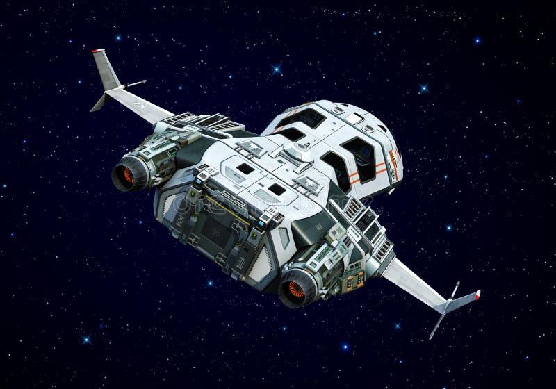 Vaisseau spatial au-dessus de la vue de derrière de nuages illustration stock