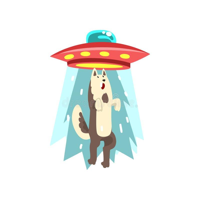 Vaisseau spatial d'UFO d'étranger emportant le loup, soucoupe volante prenant l'animal utilisant l'illustration de vecteur de fai illustration stock
