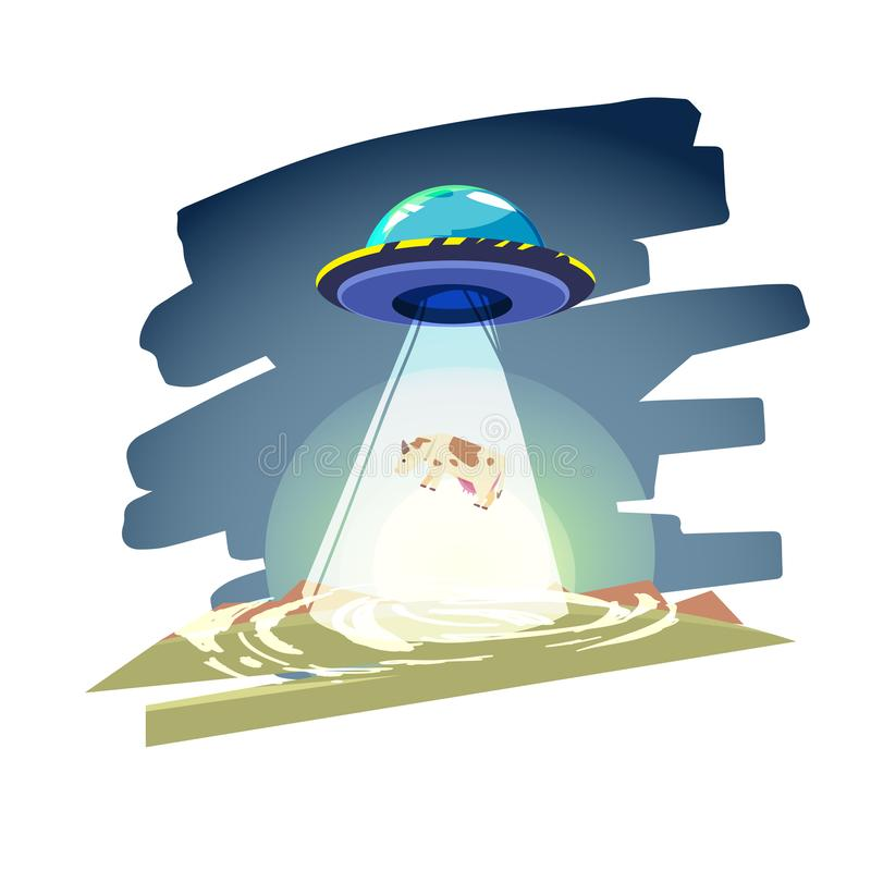Vaisseau spatial d'UFO avec le faisceau de lumière au-dessus de la vache Abduction - vecto illustration libre de droits