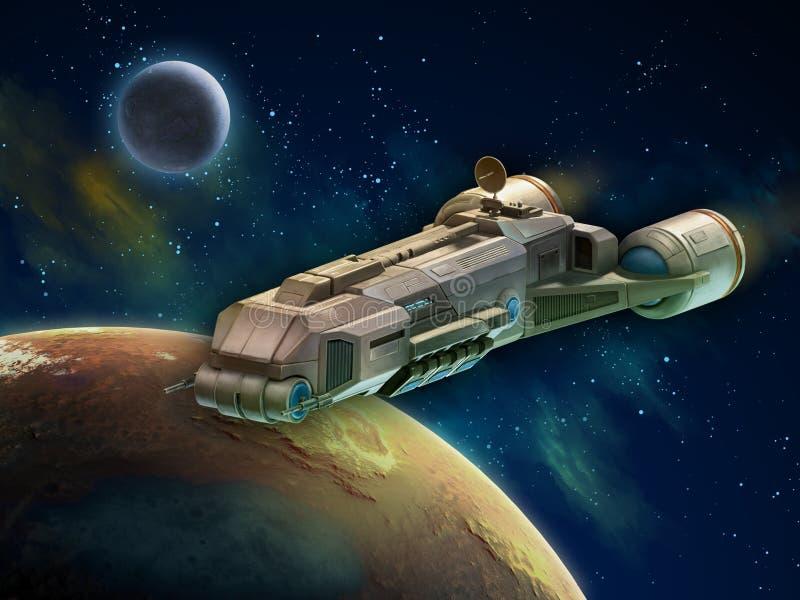 Vaisseau spatial dans l'espace extra-atmosphérique illustration de vecteur