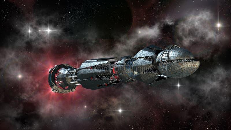Vaisseau spatial dans le voyage interstellaire illustration de vecteur