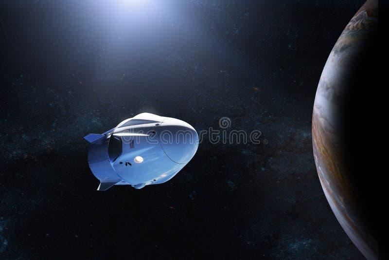 Vaisseau spatial de cargaison dans l'orbite de Jupiter Éléments de cette image meublés par la NASA illustration de vecteur