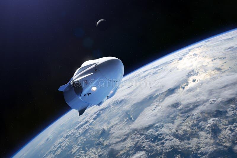 Vaisseau spatial de cargaison dans l'orbite de la bas-terre Éléments de cette image meublés par la NASA illustration libre de droits