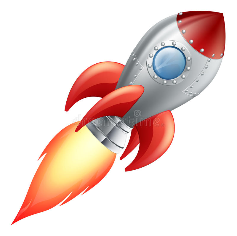 Vaisseau spatial de fusée de dessin animé illustration libre de droits