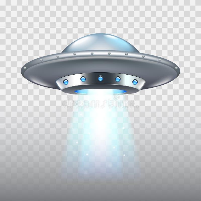 Vaisseau spatial de vol d'UFO sur le vecteur blanc illustration de vecteur