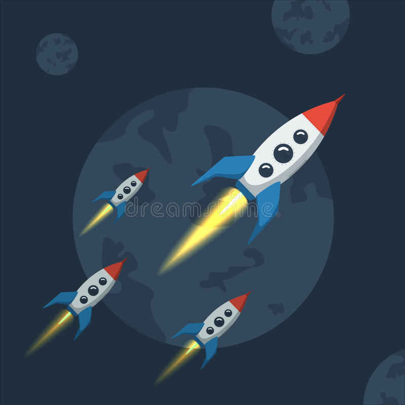 Vaisseau spatial de vol dans l'espace extra-atmosphérique illustration libre de droits