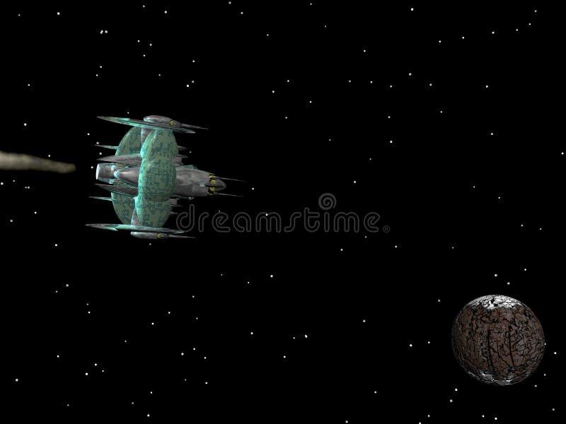 Vaisseau spatial en cours illustration stock