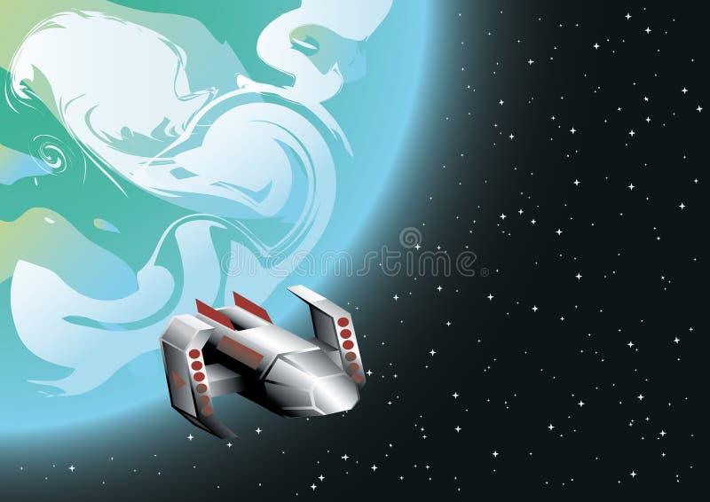 Vaisseau spatial en orbite illustration stock