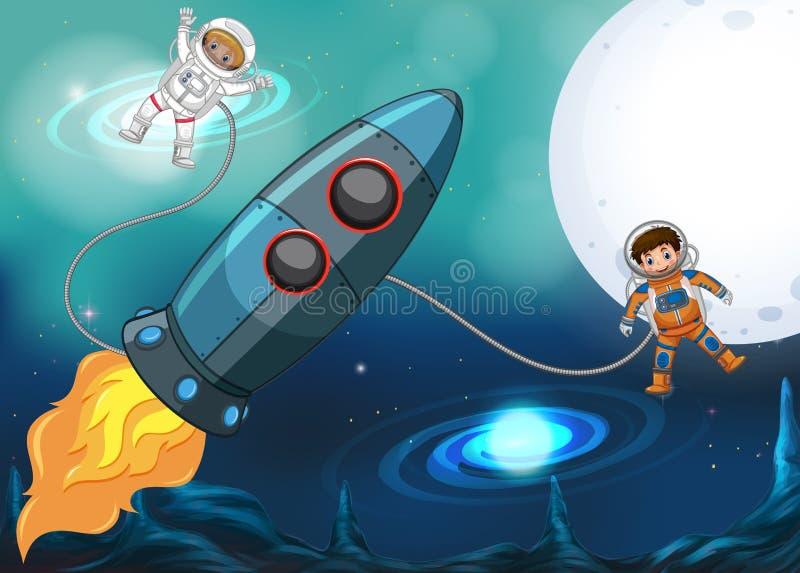 Vaisseau spatial et astronautes volant dans l'espace illustration de vecteur