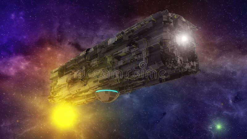Vaisseau spatial et ciel étrangers futuristes illustration libre de droits