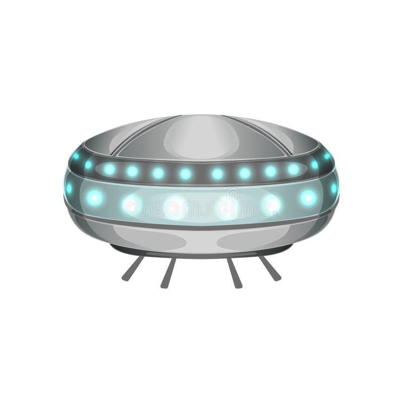 Vaisseau spatial extraterrestre de bande dessinée dans la forme futuriste Grand navire étranger avec les lumières bleues Métier m illustration de vecteur