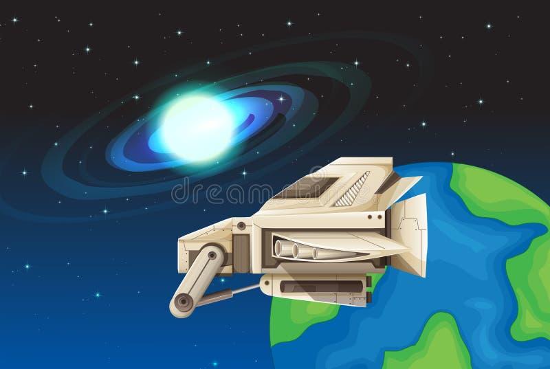 Vaisseau spatial flottant dans l'espace illustration libre de droits