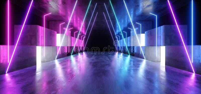 Vaisseau spatial futuriste virtuel vibrant bleu pourpre rougeoyant de podium de garage de construction d'étape de studio de tunne illustration stock