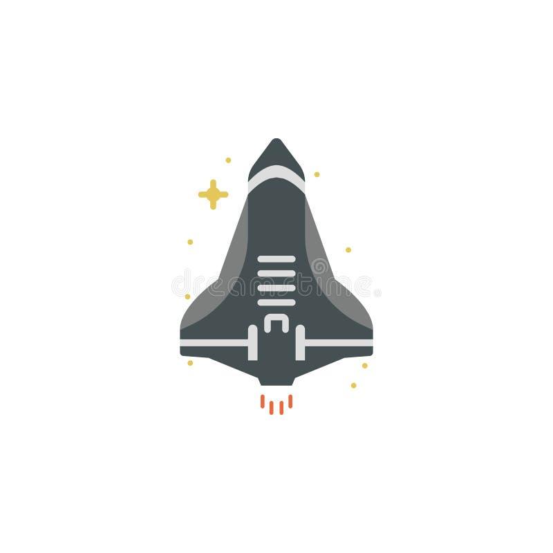 Vaisseau spatial, icône colorée par fusée Élément d'illustration de l'espace Des signes et l'icône de symboles peuvent être emplo illustration de vecteur