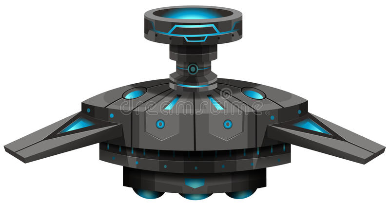 Vaisseau spatial noir avec des ailes illustration de vecteur