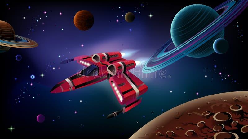 Vaisseau spatial, planètes et espace. illustration stock