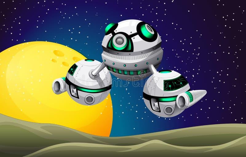 Vaisseau spatial rond flottant dans l'espace illustration stock