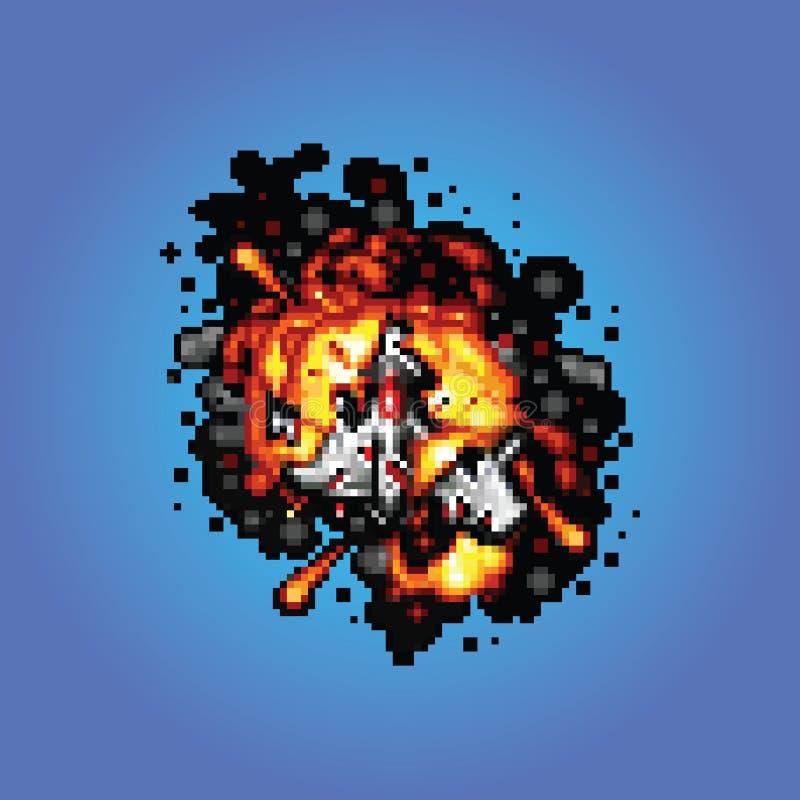 Vaisseau spatial sur l'illustration de style d'art de pixel du feu illustration stock